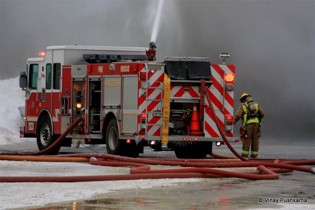 CTVNews image of helicopter rescue Kingston, Ontario fire truck. A CMC Rescue Equipment Blog Post.